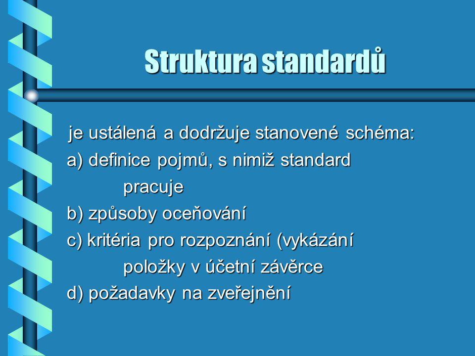 Struktura standardů je ustálená a dodržuje stanovené schéma: je ustálená a dodržuje stanovené schéma: a) definice pojmů, s nimiž standard a) definice