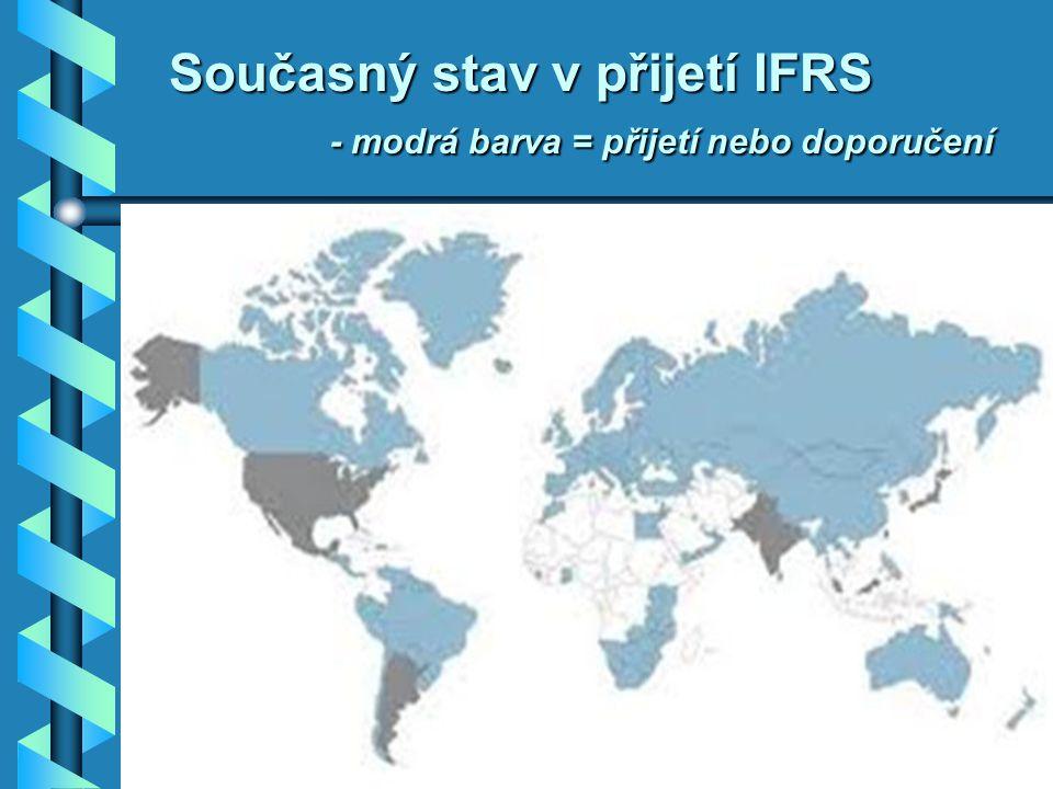 Současný stav v přijetí IFRS - modrá barva = přijetí nebo doporučení Source: Deloitte – www.iasplus.com