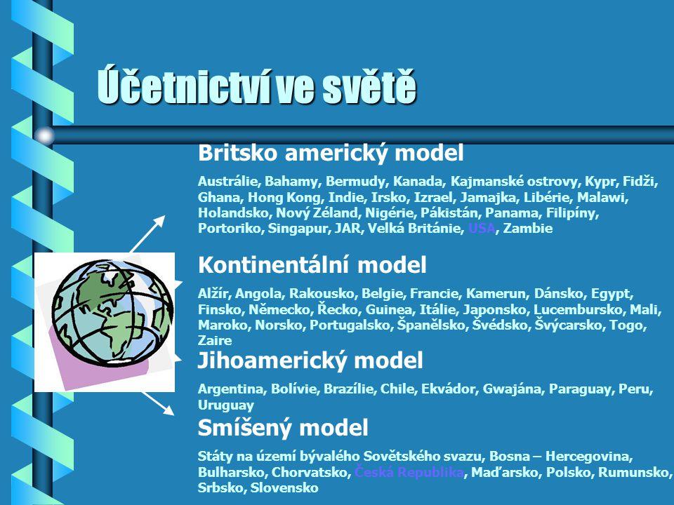 Účetnictví ve světě Britsko americký model Austrálie, Bahamy, Bermudy, Kanada, Kajmanské ostrovy, Kypr, Fidži, Ghana, Hong Kong, Indie, Irsko, Izrael,