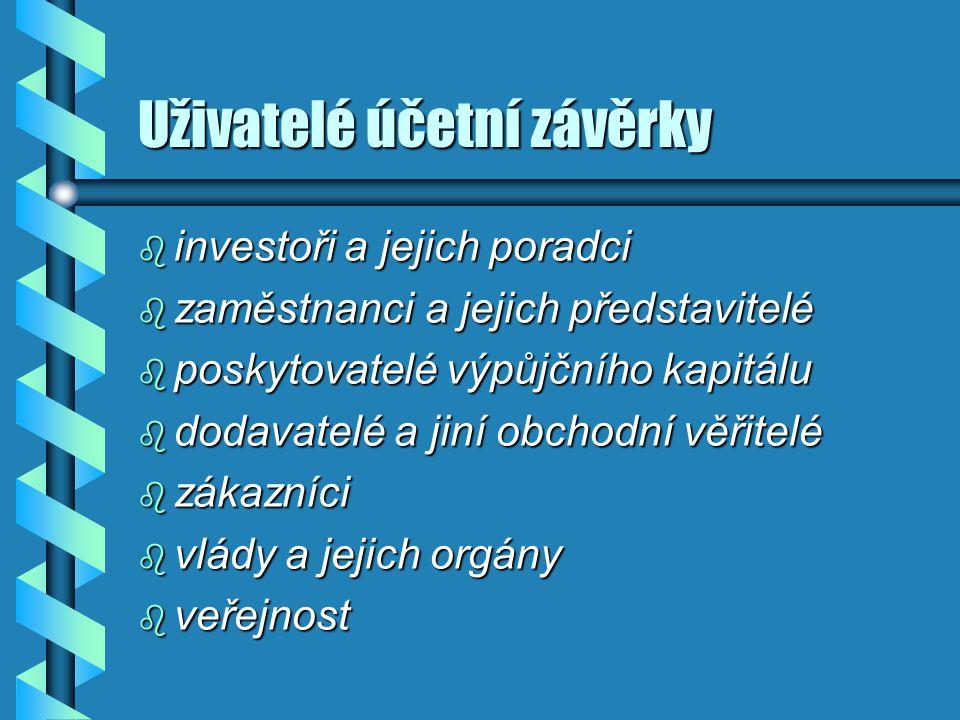 Uživatelé účetní závěrky b investoři a jejich poradci b zaměstnanci a jejich představitelé b poskytovatelé výpůjčního kapitálu b dodavatelé a jiní obc