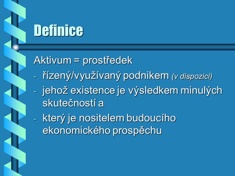 Definice Aktivum = prostředek - řízený/využívaný podnikem (v dispozici) - jehož existence je výsledkem minulých skutečností a - který je nositelem bud