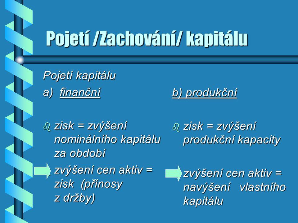Pojetí /Zachování/ kapitálu Pojetí /Zachování/ kapitálu Pojetí kapitálu a) finanční b zisk = zvýšení nominálního kapitálu za období b zvýšení cen akti