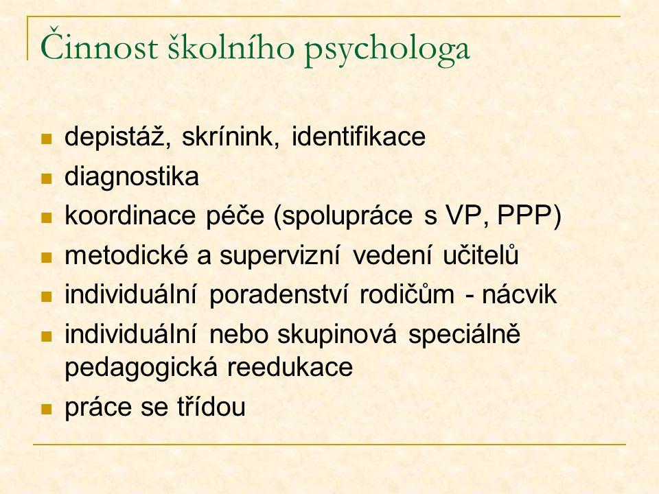Činnost školního psychologa depistáž, skrínink, identifikace diagnostika koordinace péče (spolupráce s VP, PPP) metodické a supervizní vedení učitelů individuální poradenství rodičům - nácvik individuální nebo skupinová speciálně pedagogická reedukace práce se třídou