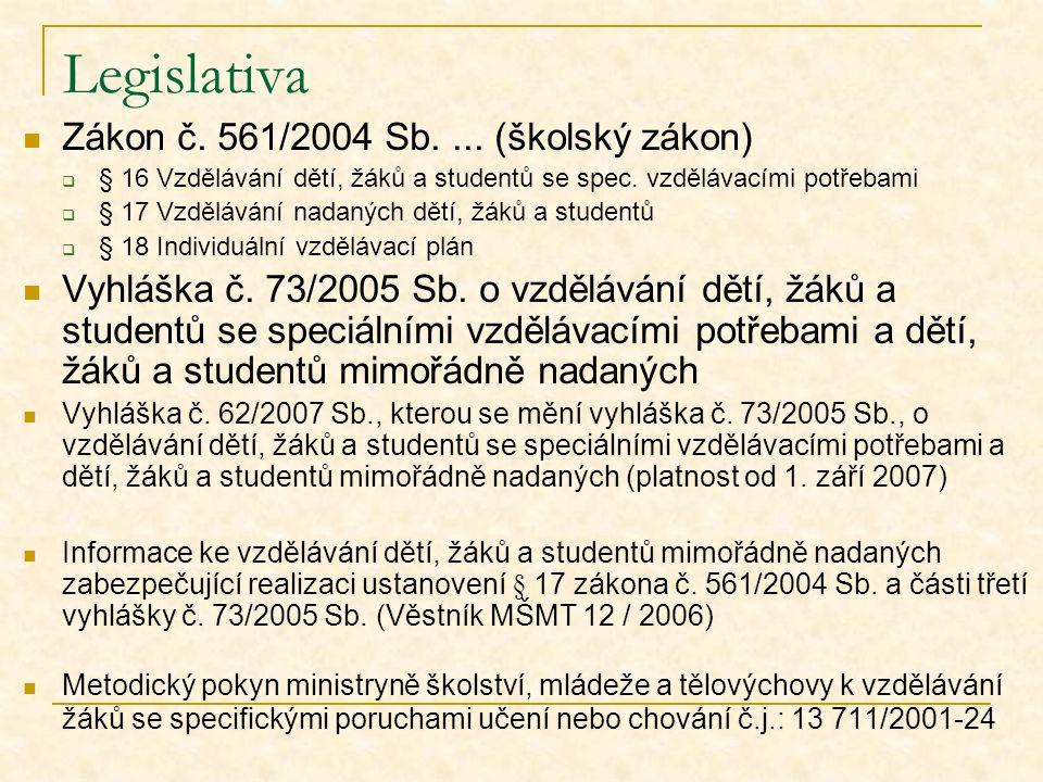 Literatura Pokorná, V.(2001). Teorie a náprava vývojových poruch učení a chování.