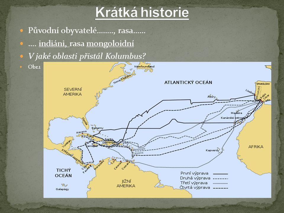 Původní obyvatelé…….., rasa…… …. indiáni, rasa mongoloidní V jaké oblasti přistál Kolumbus Obr.1