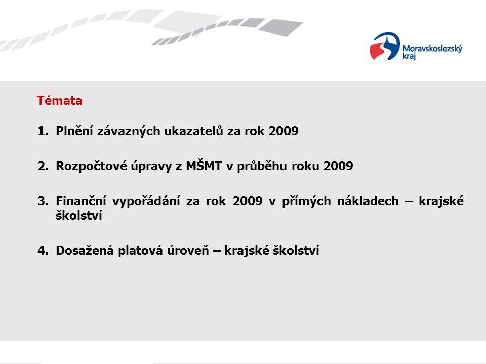 Témata 1.Plnění závazných ukazatelů za rok 2009 2.Rozpočtové úpravy z MŠMT v průběhu roku 2009 3.Finanční vypořádání za rok 2009 v přímých nákladech – krajské školství 4.Dosažená platová úroveň – krajské školství