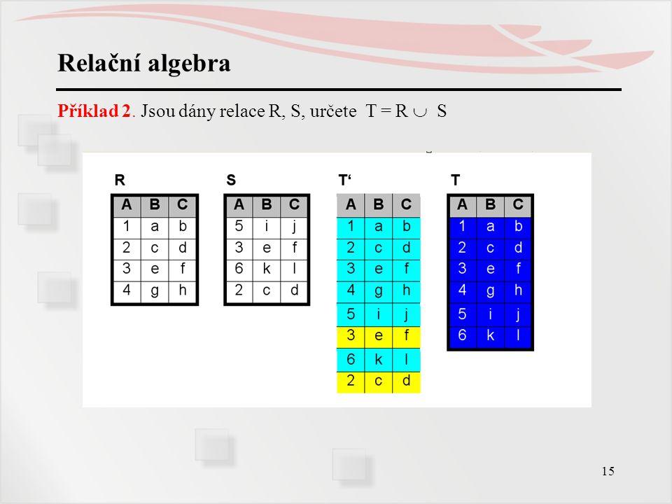 15 Relační algebra Příklad 2. Jsou dány relace R, S, určete T = R  S