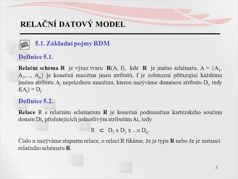 3 RELAČNÍ DATOVÝ MODEL 5.1. Základní pojmy RDM Definice 5.1. Relační schéma R je výraz tvaru R(A, f), kde R je jméno schématu, A = {A 1, A 2,..., A n