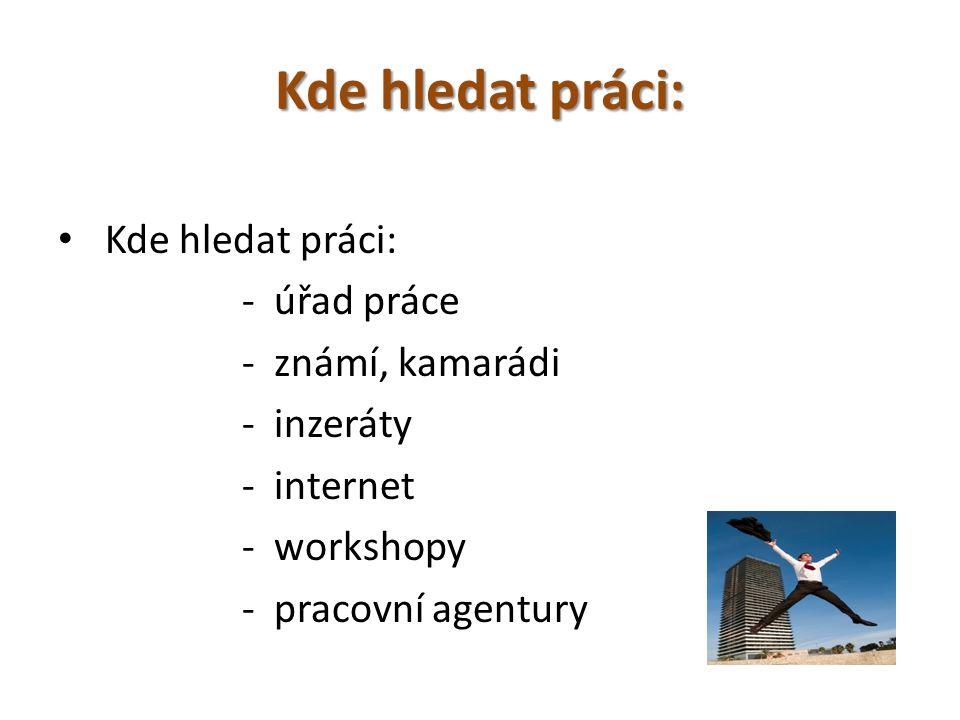 Kde hledat práci: - úřad práce - známí, kamarádi - inzeráty - internet - workshopy - pracovní agentury