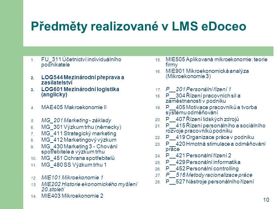 10 Předměty realizované v LMS eDoceo 1. FU_311 Účetnictví individuálního podnikatele 2. LOG544 Mezinárodní přeprava a zasilatelství 3. LOG601 Mezináro