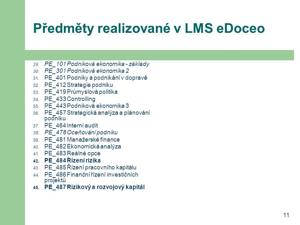 11 Předměty realizované v LMS eDoceo 29. PE_101 Podniková ekonomika - základy 30. PE_301 Podniková ekonomika 2 31. PE_401 Podniky a podnikání v doprav