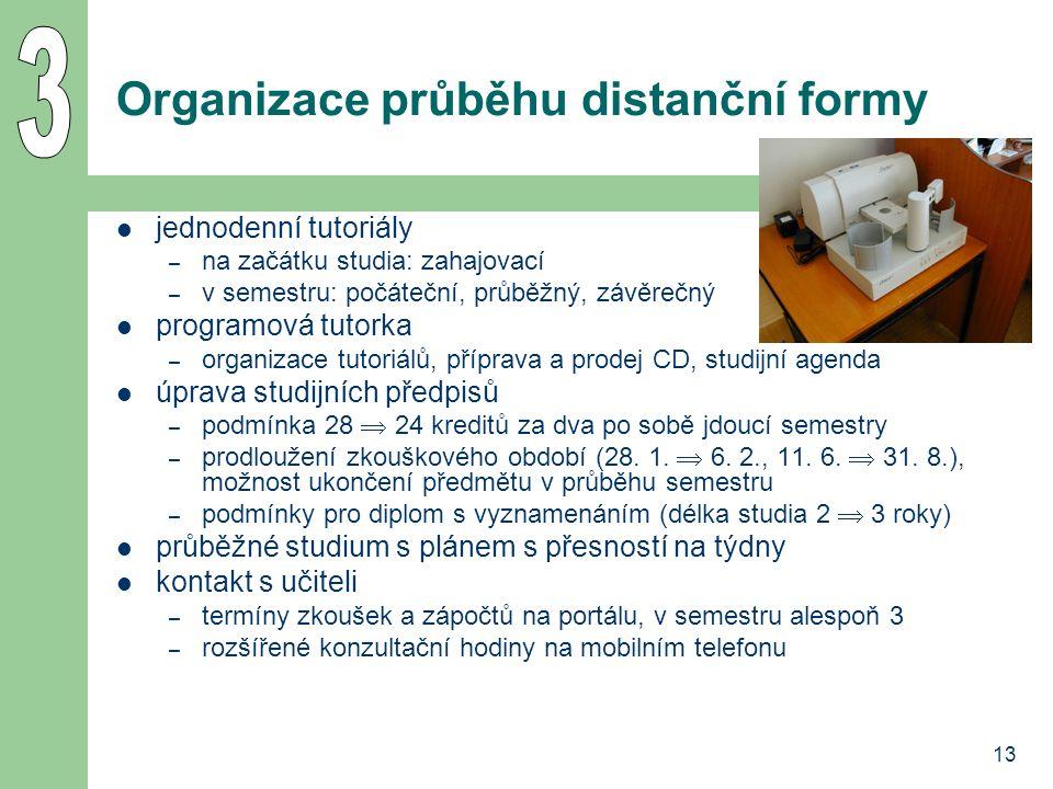 13 Organizace průběhu distanční formy jednodenní tutoriály – na začátku studia: zahajovací – v semestru: počáteční, průběžný, závěrečný programová tut