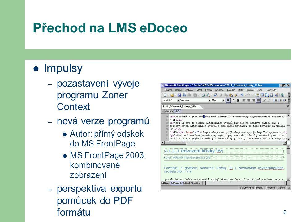 6 Přechod na LMS eDoceo Impulsy – pozastavení vývoje programu Zoner Context – nová verze programů Autor: přímý odskok do MS FrontPage MS FrontPage 200