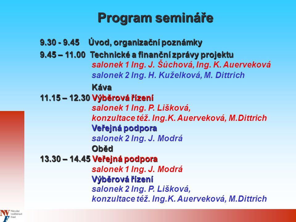 Program semináře 9.30 - 9.45 Úvod, organizační poznámky 9.45 – 11.00 Technické a finanční zprávy projektu salonek 1 Ing.