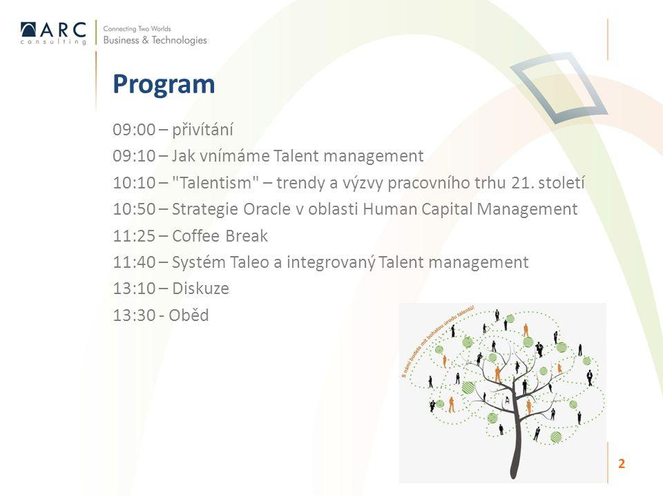 09:00 – přivítání 09:10 – Jak vnímáme Talent management 10:10 – Talentism – trendy a výzvy pracovního trhu 21.