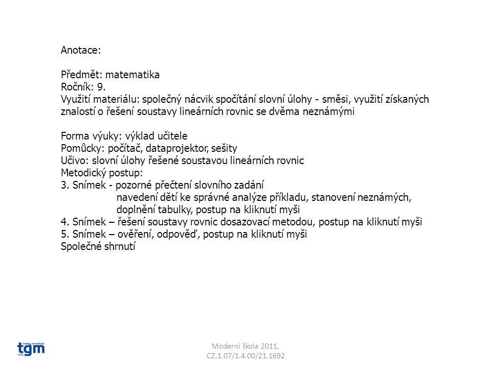 Moderní škola 2011, CZ.1.07/1.4.00/21.1692 Vedoucí jídelny prodala za jeden den 220 obědů za 5 975 Kč.