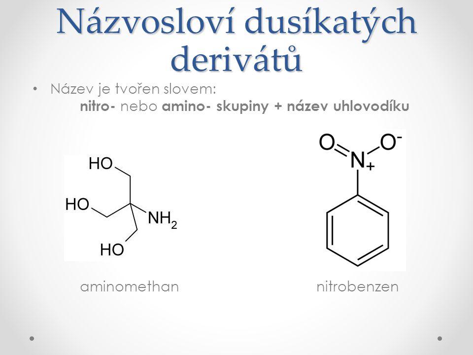 Názvosloví dusíkatých derivátů Název je tvořen slovem: nitro- nebo amino- skupiny + název uhlovodíku aminomethan nitrobenzen