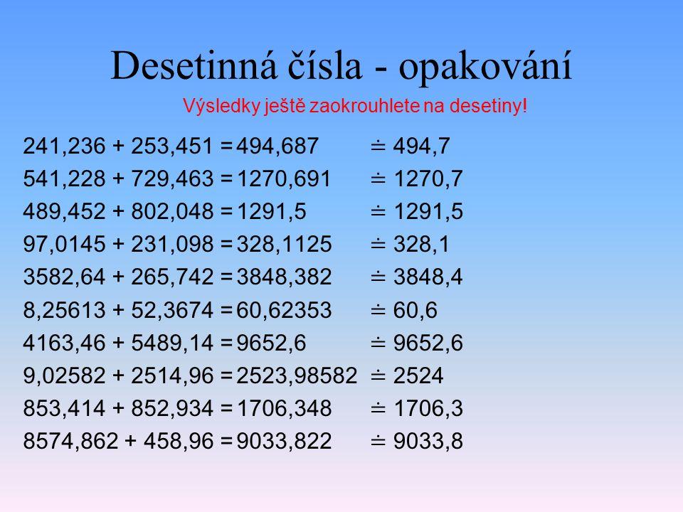 Desetinná čísla - opakování 241,236 + 253,451 = 541,228 + 729,463 = 489,452 + 802,048 = 97,0145 + 231,098 = 3582,64 + 265,742 = 8,25613 + 52,3674 = 4163,46 + 5489,14 = 9,02582 + 2514,96 = 853,414 + 852,934 = 8574,862 + 458,96 = 494,687 1270,691 1291,5 328,1125 3848,382 60,62353 9652,6 2523,98582 1706,348 9033,822 Výsledky ještě zaokrouhlete na desetiny.