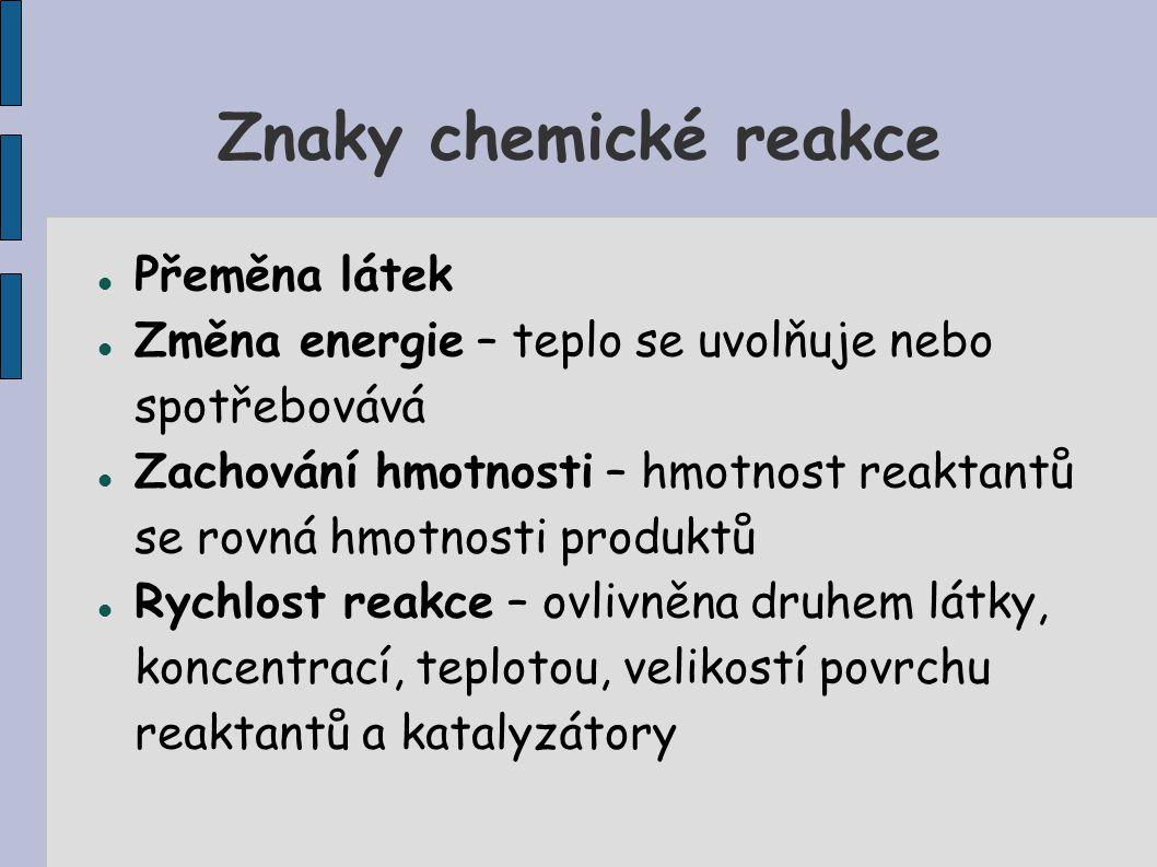 Znaky chemické reakce Přeměna látek Změna energie – teplo se uvolňuje nebo spotřebovává Zachování hmotnosti – hmotnost reaktantů se rovná hmotnosti pr