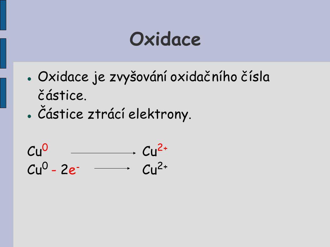 Oxidace Oxidace je zvyšování oxidačního čísla částice. Částice ztrácí elektrony. Cu 0 Cu 2 + Cu 0 - 2e - Cu 2 +