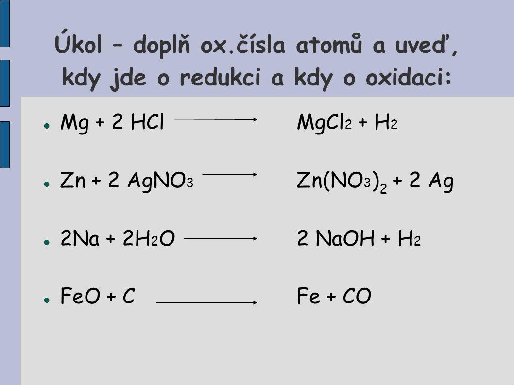 Úkol – doplň ox.čísla atomů a uveď, kdy jde o redukci a kdy o oxidaci: Mg + 2 HClMgCl 2 + H 2 Zn + 2 AgNO 3 Zn(NO 3 ) 2 + 2 Ag 2Na + 2H 2 O2 NaOH + H