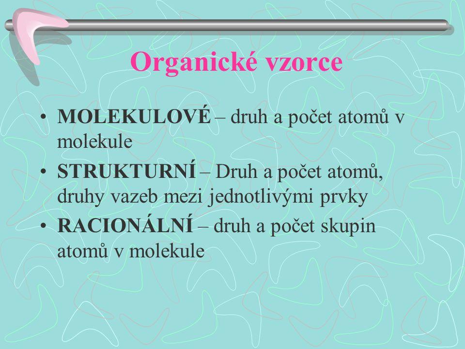 Organické vzorce MOLEKULOVÉ – druh a počet atomů v molekule STRUKTURNÍ – Druh a počet atomů, druhy vazeb mezi jednotlivými prvky RACIONÁLNÍ – druh a počet skupin atomů v molekule