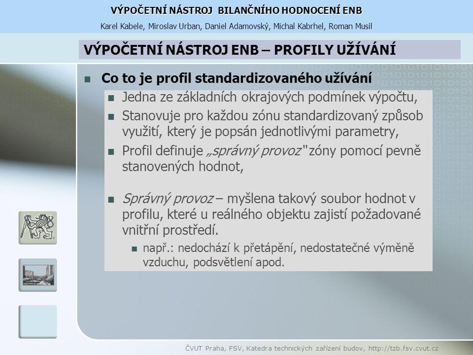 """ČVUT Praha, FSV, Katedra technických zařízení budov, http://tzb.fsv.cvut.cz Co to je profil standardizovaného užívání Jedna ze základních okrajových podmínek výpočtu, Stanovuje pro každou zónu standardizovaný způsob využití, který je popsán jednotlivými parametry, Profil definuje """"správný provoz zóny pomocí pevně stanovených hodnot, Správný provoz – myšlena takový soubor hodnot v profilu, které u reálného objektu zajistí požadované vnitřní prostředí."""
