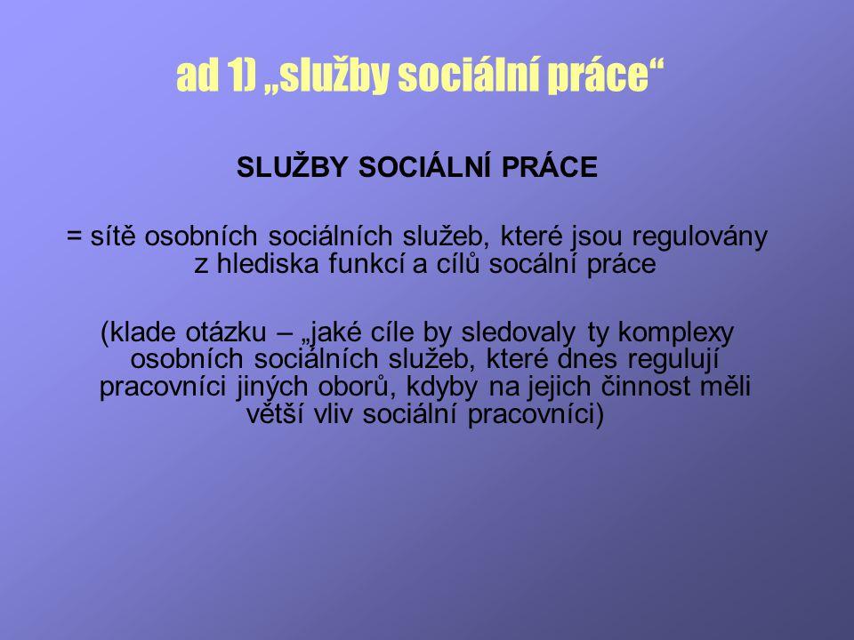 """ad 1) """"služby sociální práce"""" SLUŽBY SOCIÁLNÍ PRÁCE = sítě osobních sociálních služeb, které jsou regulovány z hlediska funkcí a cílů socální práce (k"""