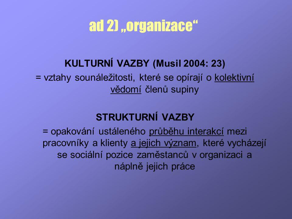 """ad 2) """"organizace"""" KULTURNÍ VAZBY (Musil 2004: 23) = vztahy sounáležitosti, které se opírají o kolektivní vědomí členů supiny STRUKTURNÍ VAZBY = opako"""