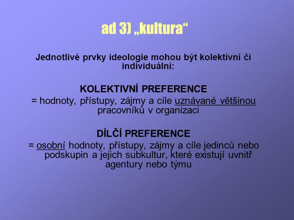 """ad 3) """"kultura"""" Jednotlivé prvky ideologie mohou být kolektivní či individuální: KOLEKTIVNÍ PREFERENCE = hodnoty, přístupy, zájmy a cíle uznávané větš"""