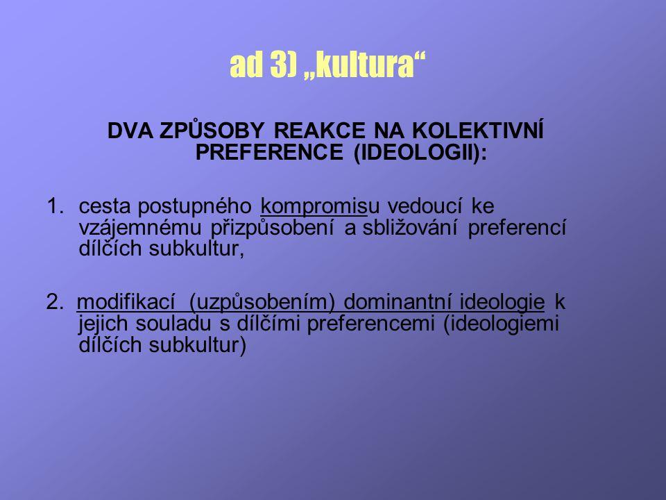 """ad 3) """"kultura"""" DVA ZPŮSOBY REAKCE NA KOLEKTIVNÍ PREFERENCE (IDEOLOGII): 1.cesta postupného kompromisu vedoucí ke vzájemnému přizpůsobení a sbližování"""