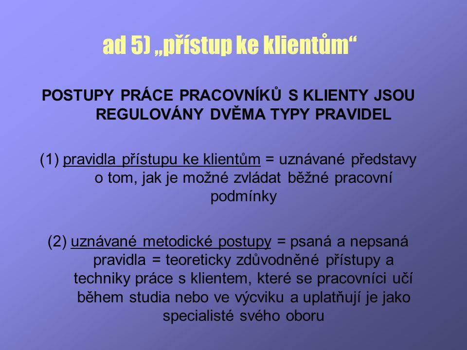 """ad 5) """"přístup ke klientům"""" POSTUPY PRÁCE PRACOVNÍKŮ S KLIENTY JSOU REGULOVÁNY DVĚMA TYPY PRAVIDEL (1) pravidla přístupu ke klientům = uznávané předst"""