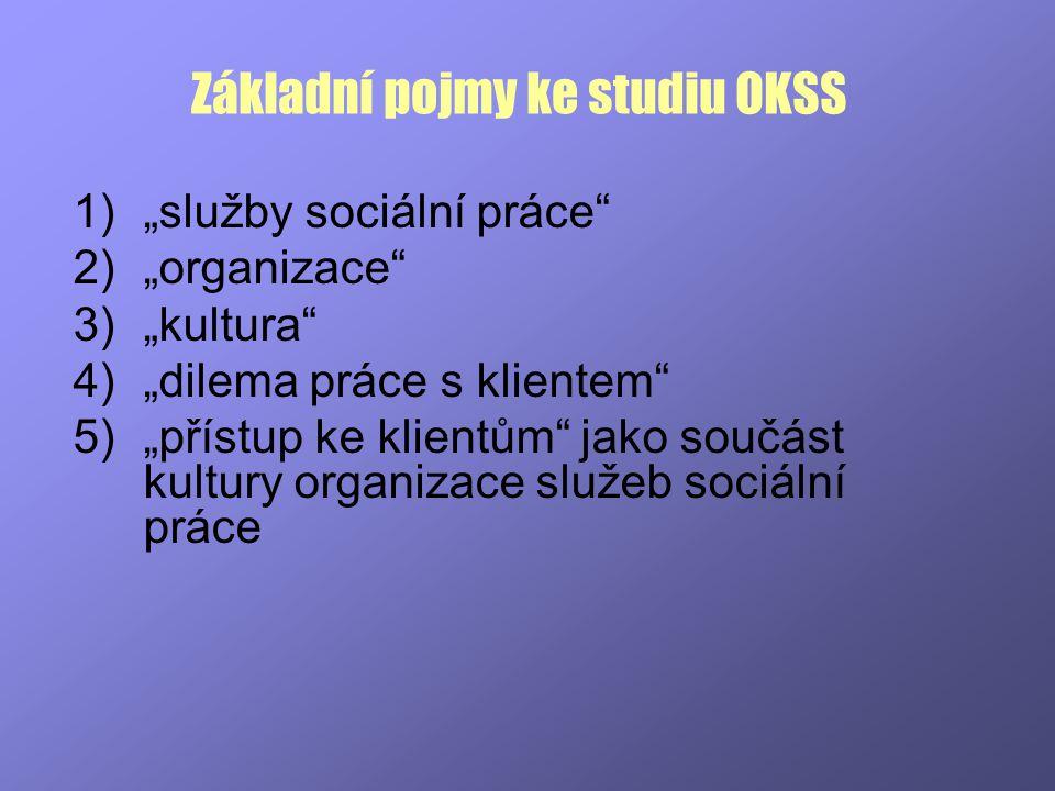 """Základní pojmy ke studiu OKSS 1)""""služby sociální práce"""" 2)""""organizace"""" 3)""""kultura"""" 4)""""dilema práce s klientem"""" 5)""""přístup ke klientům"""" jako součást ku"""