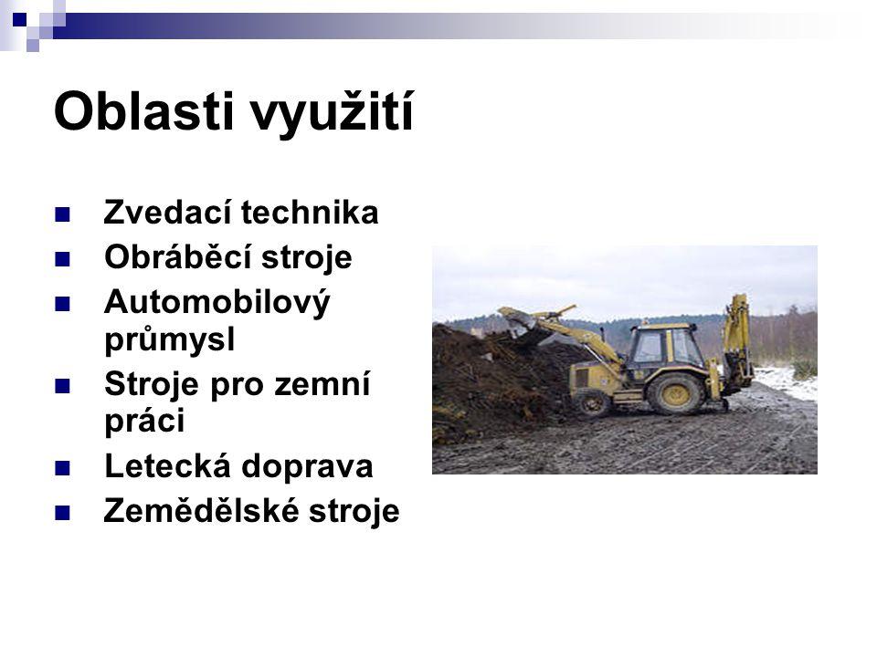 Oblasti využití Zvedací technika Obráběcí stroje Automobilový průmysl Stroje pro zemní práci Letecká doprava Zemědělské stroje