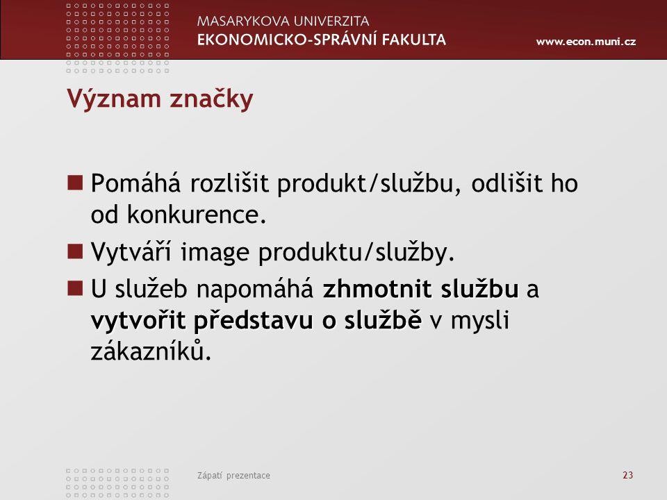 www.econ.muni.cz Zápatí prezentace 23 Význam značky Pomáhá rozlišit produkt/službu, odlišit ho od konkurence. Vytváří image produktu/služby. zhmotnit