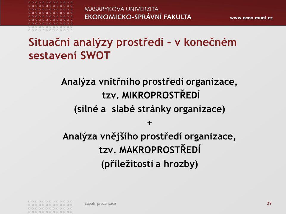 www.econ.muni.cz Zápatí prezentace 29 Situační analýzy prostředí – v konečném sestavení SWOT Analýza vnitřního prostředí organizace, tzv. MIKROPROSTŘE