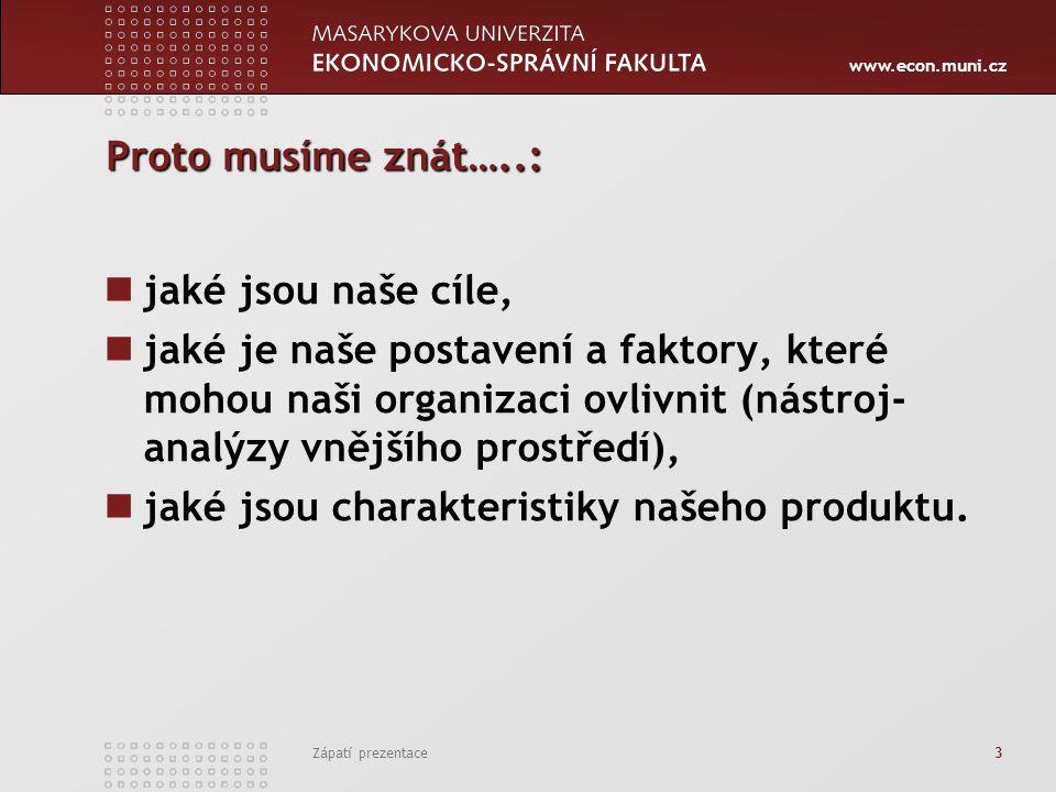 www.econ.muni.cz Zápatí prezentace 3 Proto musíme znát…..: jaké jsou naše cíle, jaké je naše postavení a faktory, které mohou naši organizaci ovlivnit