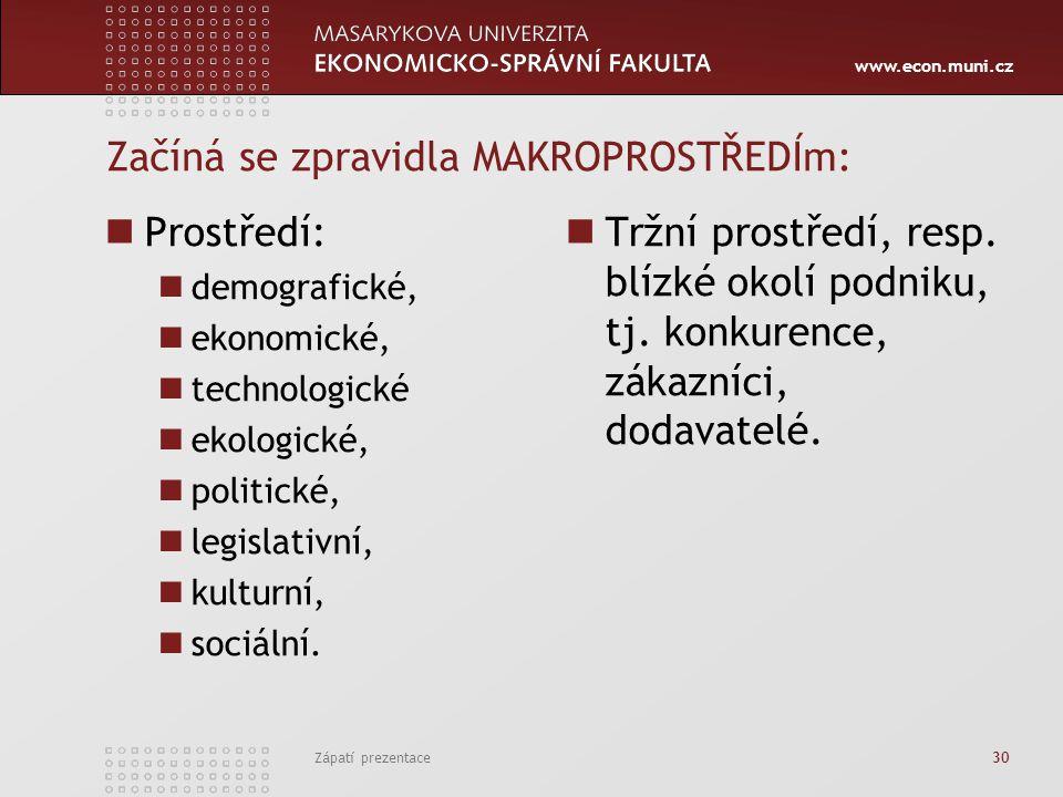 www.econ.muni.cz Začíná se zpravidla MAKROPROSTŘEDÍm: Prostředí: demografické, ekonomické, technologické ekologické, politické, legislativní, kulturní