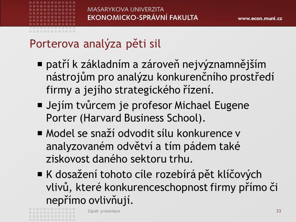 www.econ.muni.cz Porterova analýza pěti sil  patří k základním a zároveň nejvýznamnějším nástrojům pro analýzu konkurenčního prostředí firmy a jejího