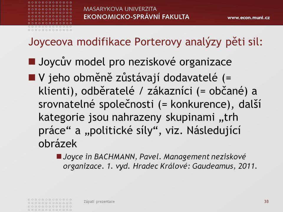www.econ.muni.cz Joyceova modifikace Porterovy analýzy pěti sil: Joycův model pro neziskové organizace V jeho obměně zůstávají dodavatelé (= klienti),