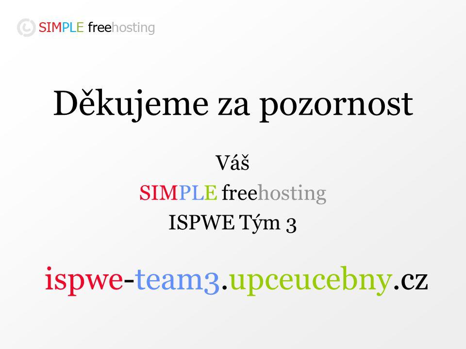 Děkujeme za pozornost Váš SIMPLE freehosting ISPWE Tým 3 ispwe-team3.upceucebny.cz
