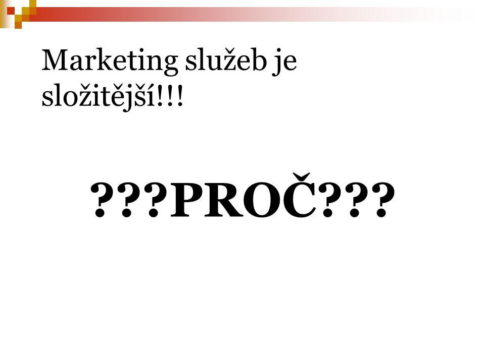 Marketing služeb je složitější!!! ???PROČ???