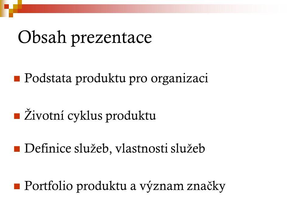 Obsah prezentace Podstata produktu pro organizaci Ž ivotní cyklus produktu Definice slu ž eb, vlastnosti slu ž eb Portfolio produktu a význam zna č ky