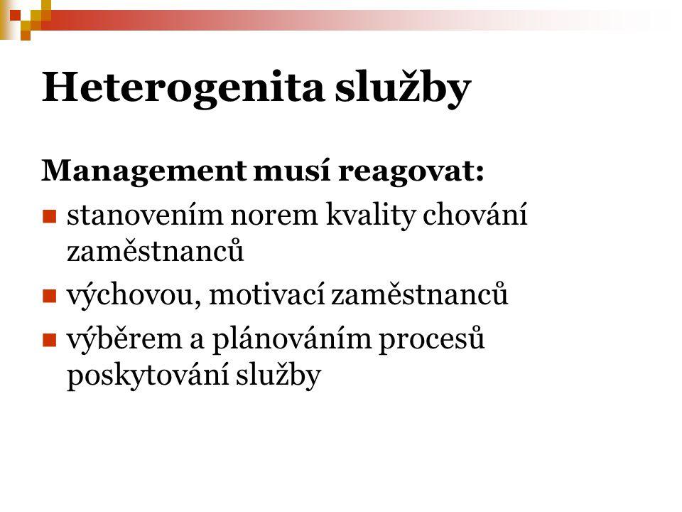 Heterogenita služby Management musí reagovat: stanovením norem kvality chování zaměstnanců výchovou, motivací zaměstnanců výběrem a plánováním procesů poskytování služby