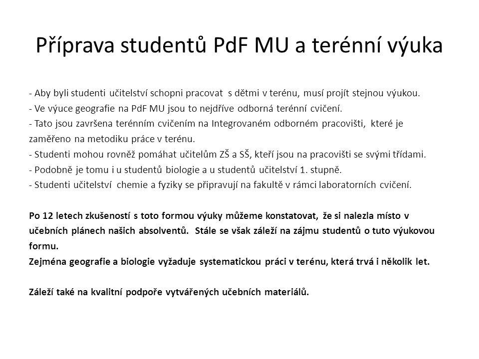 Příprava studentů PdF MU a terénní výuka - Aby byli studenti učitelství schopni pracovat s dětmi v terénu, musí projít stejnou výukou.