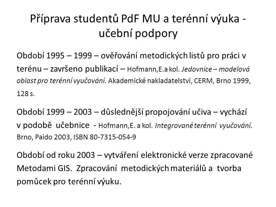 Příprava studentů PdF MU a terénní výuka - učební podpory Období 1995 – 1999 – ověřování metodických listů pro práci v terénu – završeno publikací – Hofmann,E.a kol.