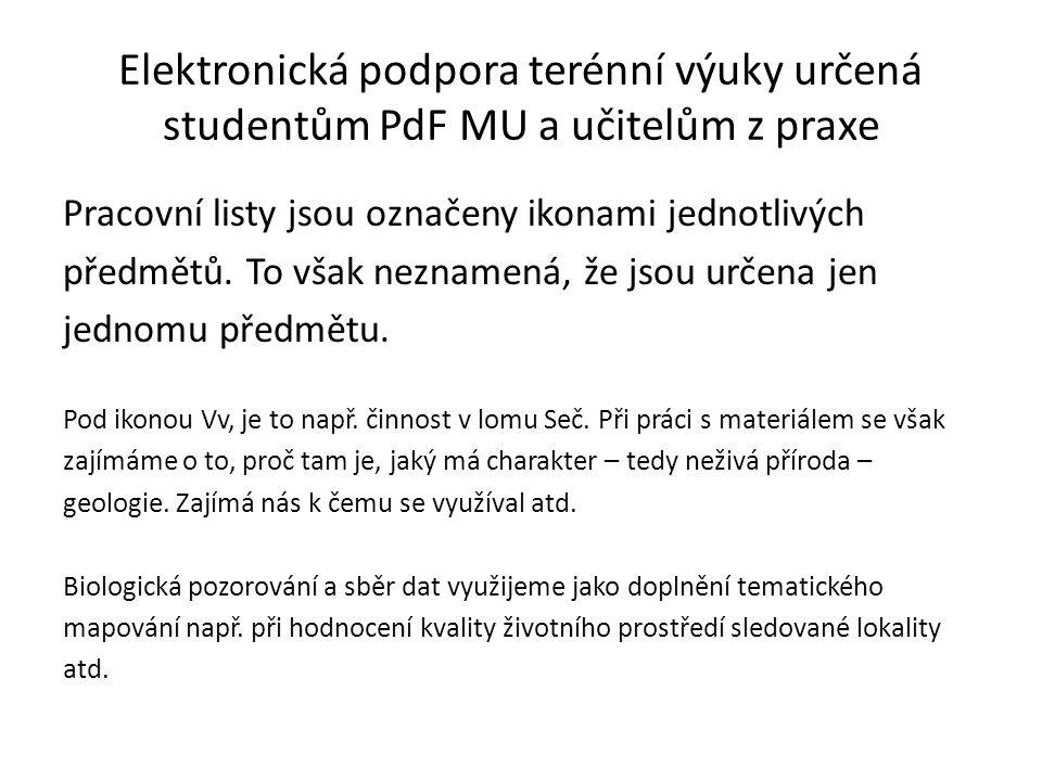 Elektronická podpora terénní výuky určená studentům PdF MU a učitelům z praxe Pracovní listy jsou označeny ikonami jednotlivých předmětů.