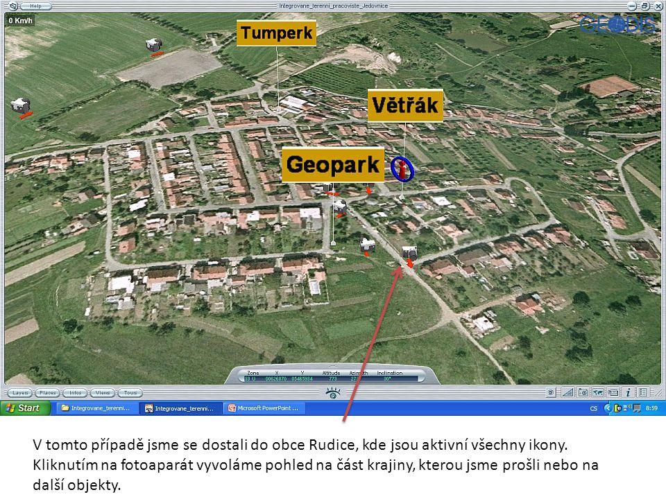 V tomto případě jsme se dostali do obce Rudice, kde jsou aktivní všechny ikony.