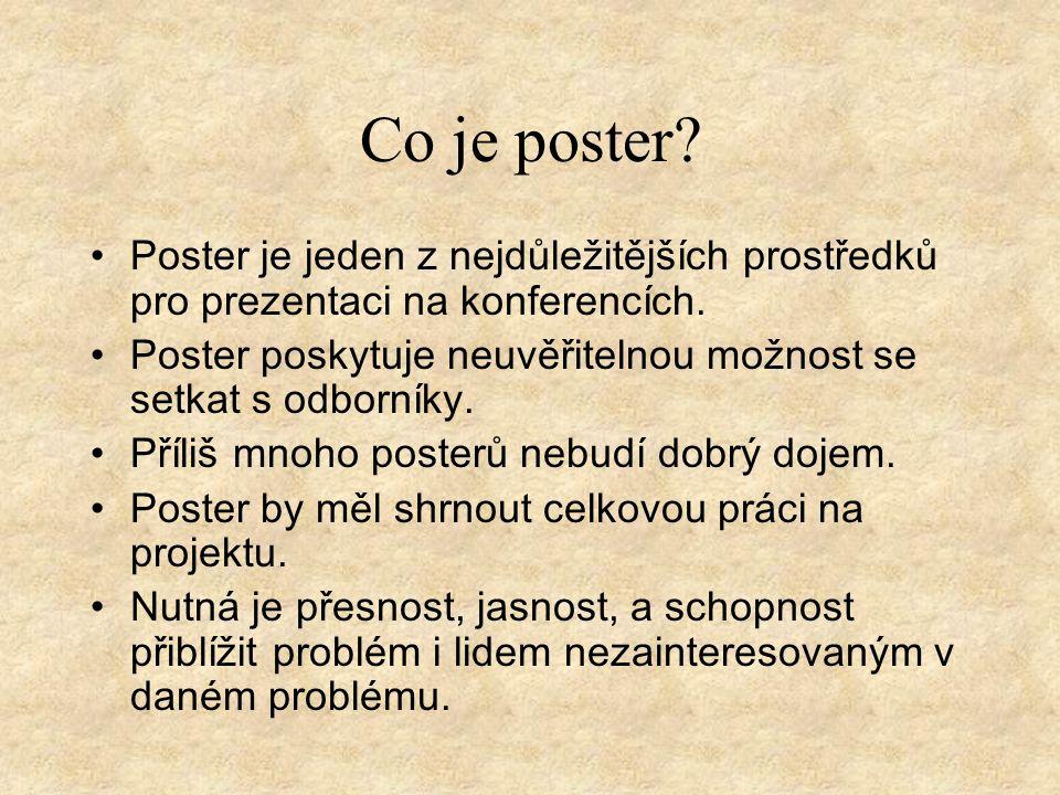 Co je poster.Poster je jeden z nejdůležitějších prostředků pro prezentaci na konferencích.