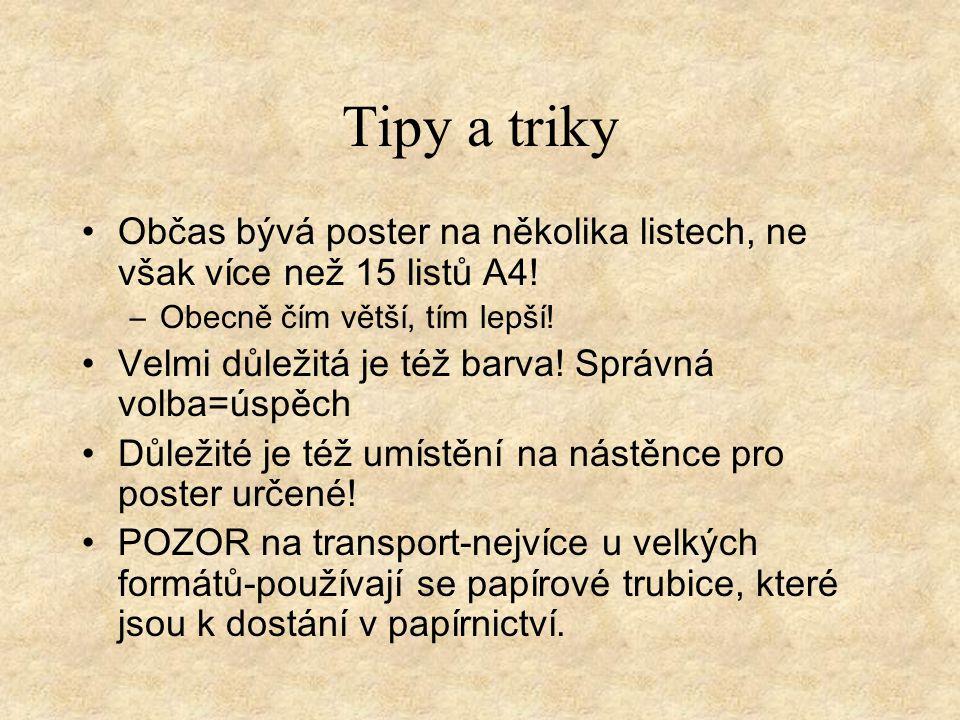 Tipy a triky Občas bývá poster na několika listech, ne však více než 15 listů A4.